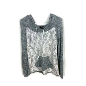 Miss Chievous Grey Lace Hoodie with knitted front